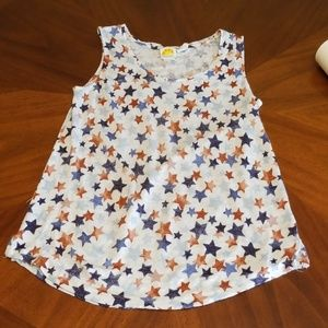 4th of July linen tabk top stars red blue C306
